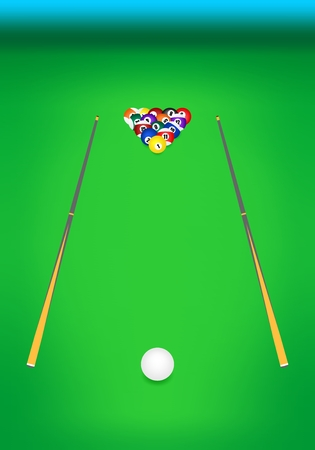 game of pool: Front view of the billiard table with green cloth with two wooden cues with billiard balls with numbers at the back and with the cue white ball in front