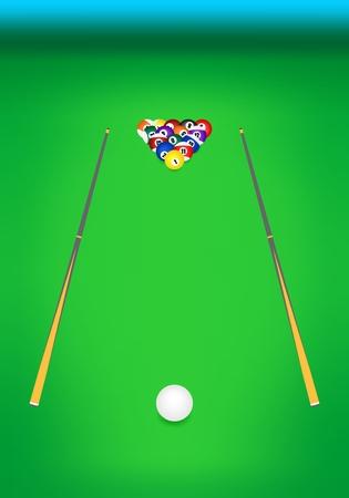 Frontansicht des Billardtisch mit grünem Tuch mit zwei hölzernen Cues mit Billardkugeln mit Zahlen auf der Rückseite und mit dem Queue weißen Ball vor Illustration