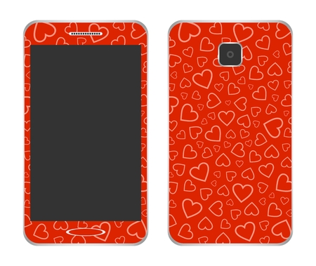 Design mobile phone with a red an outer wrapper with a red heart with a camera on the back and a big black screen and a speaker on a white background. Touchscreen smartphone Illustration