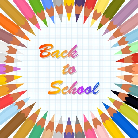 Back to school poster with colorful crayons in a circle on a background of graph paper from blue lines and colored inscription advancing to a school in the middle