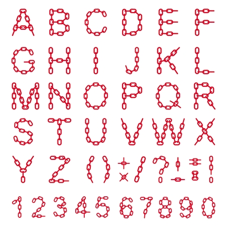 gray netting: Alphabet letters and numbers from a chain on a white background. Decorative style vector font consisting of parts Illustration