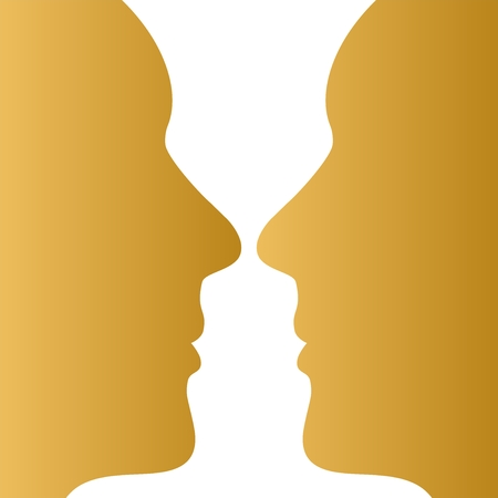 Two gold human faces opposite each other on a white background. White decorative goblet on a gold background. Eye illusion Vettoriali