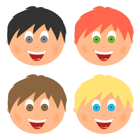 child tongue: Boys set childrens faces with different hair color and eyes with a big smile with an open mouth with tongue and white teeth. Combed child with ears Illustration