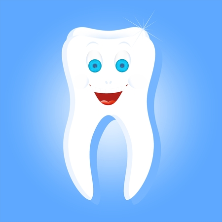 big smile: White human tooth with down laughing face with blue eyes with eyebrows and a big smile with white teeth and tongue on a blue background Illustration
