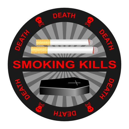 Black warning stamp smoking kills with burning cigarettes and the coffin of the dead with red lettering death and red skull with bones and teeth around on a white background. Warning sticker