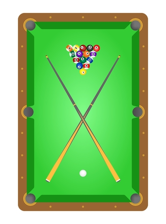 pool cues: Top view of wooden billiard table with green cloth the billiard balls and two crossover billiard cues on the table on a white background. Pool table ready to play