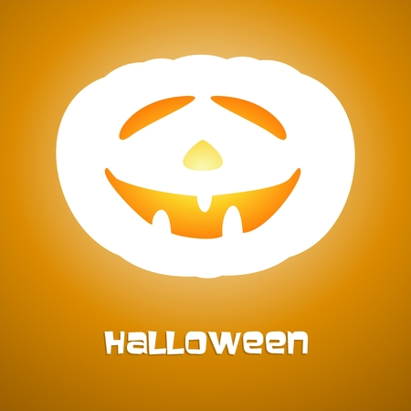Brown Halloween greeting with white illuminating faces carved into pumpkins and a inscription halloveen under pumpkin on a brown background Illustration