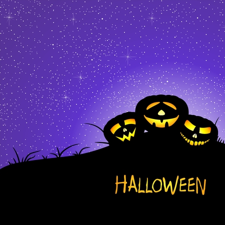 illuminating: Halloween greeting with two illuminating pumpkins on meadow with grass with shining dark night sky with stars and yellow inscription halloween Illustration