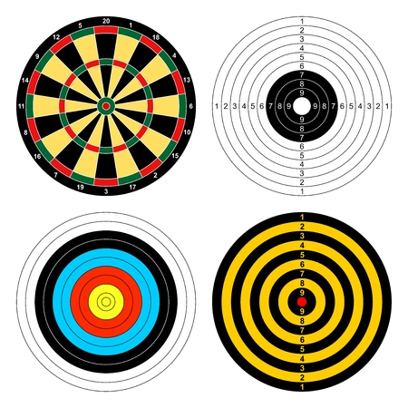 targets: Set of color targets for different sports darts, archery, shooting a gun on a white background. Icons sporting targets Illustration