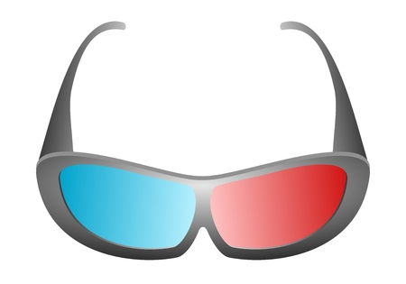 stereoscopic: Front view of black design 3D movie glasses for cinema and 3D TV with blue and red glass on a white background