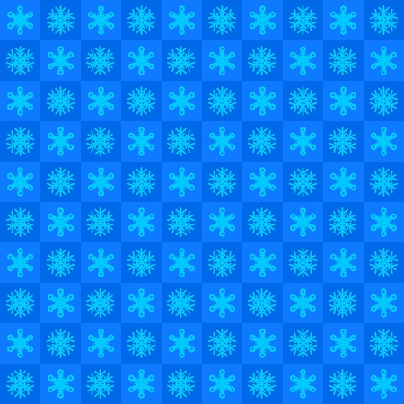Winter blue background with snowflakes in blue squares in a row side by side and beneath. Christmas checkered background