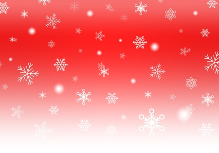 Red Christmas background with white falling snowflakes and luminous wheels white stripe down. Winter background with snowfall