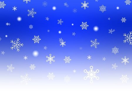 Blue Christmas background with white falling snowflakes and luminous wheels white stripe down. Winter backdrop with snowfall