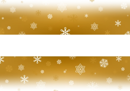 Gold Christmas background with white falling snowflakes and luminous wheels white stripe with shadow in the middle. Winter backdrop with snowfall. Gold backdrop with white area Illustration