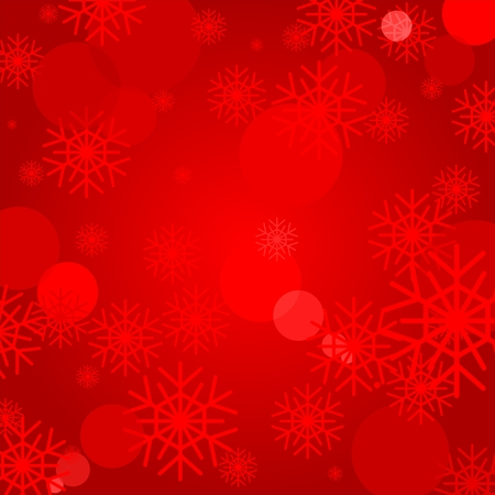 illuminating: Red Christmas background with colorful snowflakes and light reflections. Light illuminating backdrop Illustration