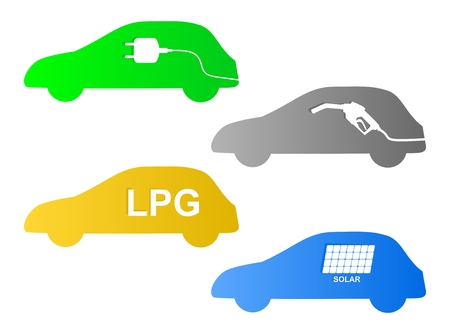 Set of colorful cars blue, green, yellow and gray with different motor drive on gasoline, electricity, gas and solar on a white background. Icons for green propulsion