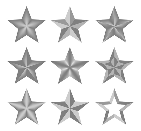 best wishes: Set Silver vector christmas classic elegant star. The stars composed up of light and dark geometric elements