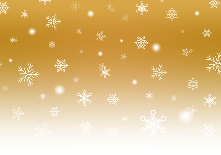 Gold Christmas background with white falling snowflakes and luminous wheels white stripe down. Winter backdrop with snowfall Vettoriali