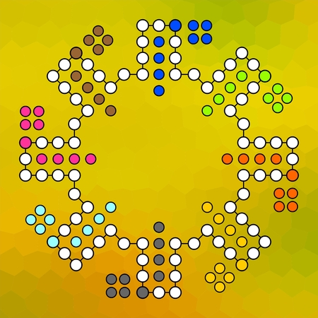 ludo: Vector board for a family game Ludo to eight players on a yellow colored background