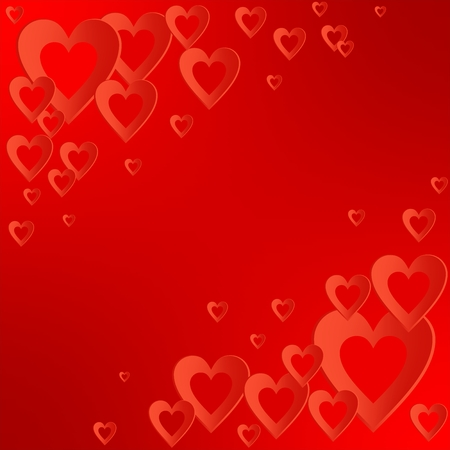 Valentines red background with bright red heart with the composition of red hearts in the corners. Greeting for lovers and for Mothers Day Illustration