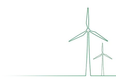 Green contour of two wind turbines on a meadow on a white background: Abstract background for environmental energy in the country 向量圖像