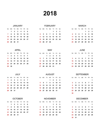Simple color calendar for the year 2018. The names of days and months in a row and Sunday marked red on a white background  イラスト・ベクター素材