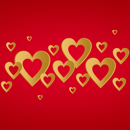 Valentines red background with bright gold heart with the composition of gold hearts in a row at the center. Greeting for lovers and for Mothers Day