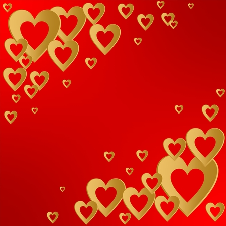 Valentines red background with bright gold heart with the composition of gold hearts in the corners. Greeting for lovers and for Mothers Day