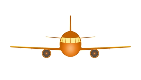 Orange trip transport flying aircraft with two jet engines and wings with yellow lighting up lights on a white background. Fly airplane transport Illustration