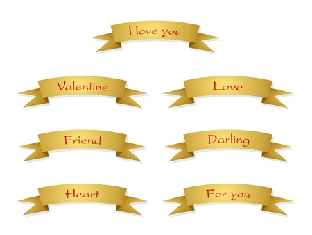 Set of vector gold folded ribbons on a white background. Collection of decorative strips for valentine, love, friend with red inscription.