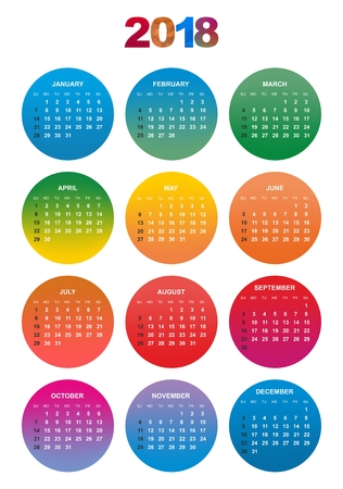 Simple color calendar for the year 2018. The names of days and months in a row numbered days in the colored circles on a white background  イラスト・ベクター素材