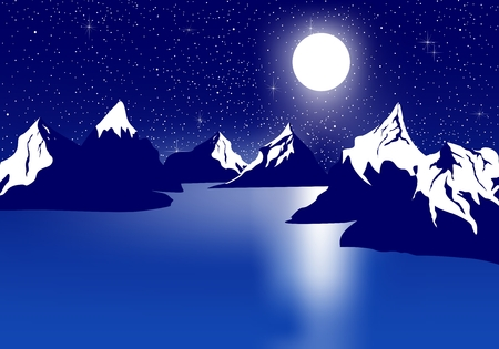 Blue night landscape with snowy hill on a lake with a reflection of the moon with a dark night sky with stars and shining moon