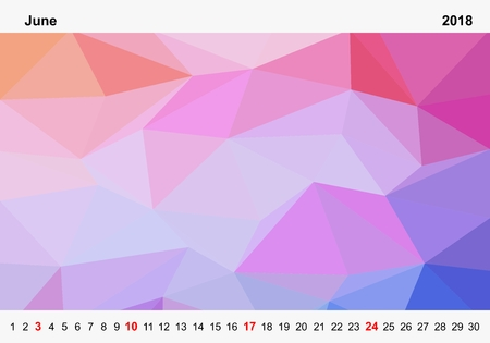 Simple color calendar of colored triangles for june for the year 2018.Month name and year numbers up and down the pictures with red Sunday on white background