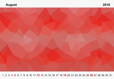 Simple color calendar of red colored triangles for august for the year 2018.Month name and year numbers up and down the pictures with red Sunday on white background Illustration