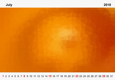 Simple color calendar of orange colored triangles for july for the year 2018.Month name and year numbers up and down the pictures with red Sunday on white background