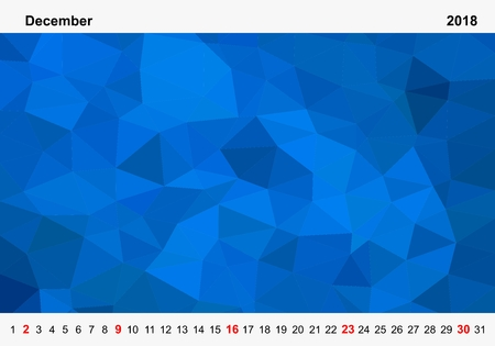 Simple color calendar of blue colored triangles for december for the year 2018.Month name and year numbers up and down the pictures with red Sunday on white background Illustration