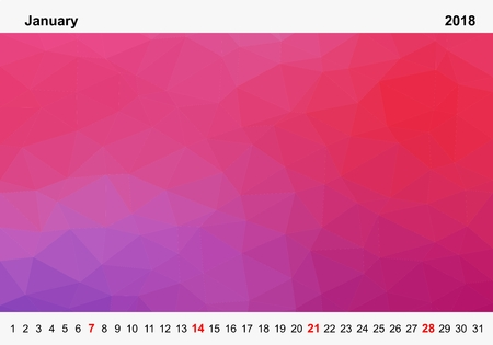 Simple color calendar of colored triangles for january for the year 2018.Month name and year numbers up and down the pictures with red Sunday on white background Иллюстрация