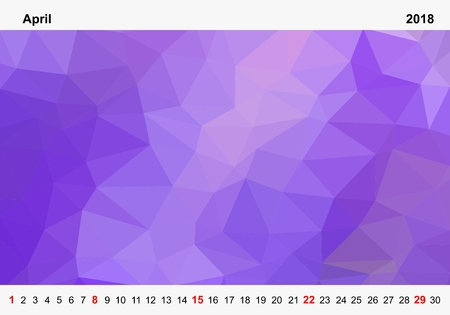 Simple color calendar of purple colored triangles for april for the year 2018.Month name and year numbers up and down the pictures with red Sunday on white background