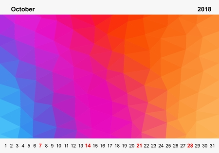 Simple color calendar of colored triangles for october for the year 2018.Month name and year numbers up and down the pictures with red Sunday on white background