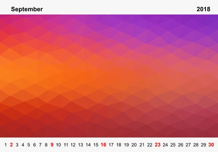 Simple color calendar of colored triangles for september for the year 2018.Month name and year numbers up and down the pictures with red Sunday on white background