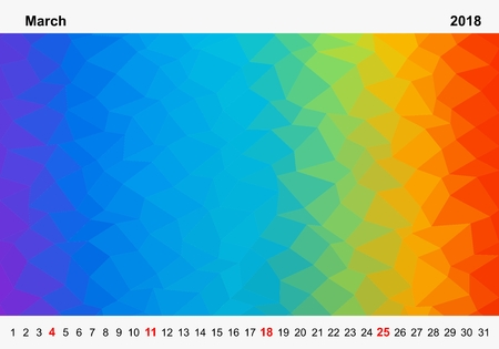 Simple color calendar of colored triangles for march for the year 2018.Month name and year numbers up and down the pictures with red Sunday on white background Illustration