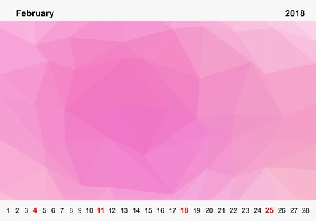 Simple color calendar of pink colored triangles for february for the year 2018.Month name and year numbers up and down the pictures with red Sunday on white background Иллюстрация