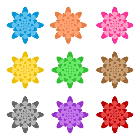 Set of colorful flowers folded in a row side by side and one below the other on a white background.