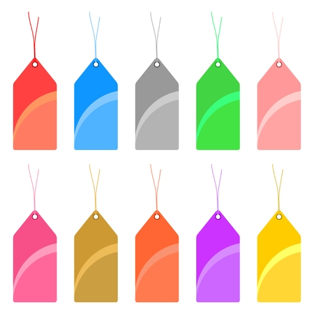 twine: Set of colorful tags with holes and with tied twine on a white background