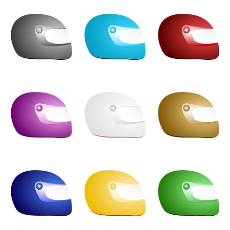 Set of colorful classic motorcycle helmets in a row side by side and one below the other.