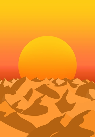 Summer morning landscape with exit orange sun over the horizon of the desert with sand dunes with shadow