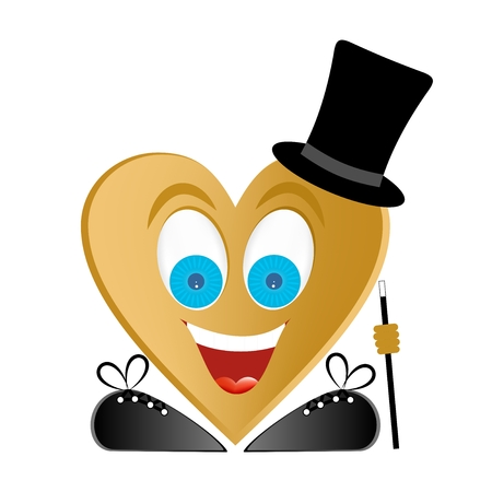 Joyful man figure gold heart, blue eyes, big smile with white teeth and red tongue with black shoes and laces with walking stick in hand, white glare in the eyes, black top hat on a white background