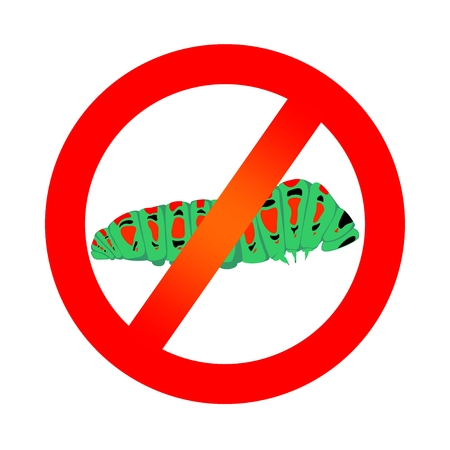Prohibition sign with green caterpillar of butterfly with red spots and black eye with his feet on a white background.