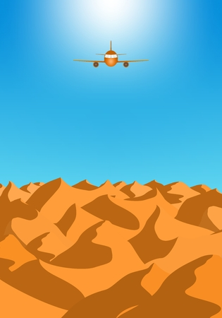 Summer holiday desert landscape with brown sand dunes with orange flying airliner with engines and windows in the blue sky. Illustration