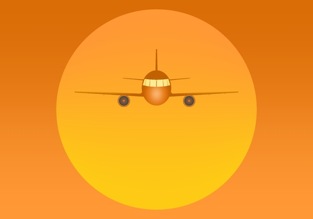 Orange flying airliner with engines and windows from the front with a large yellow sun in the back on an orange background. Air transport at sunset
